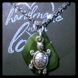 Jewelry - Handmade Beach Glass & Turtle Charm Necklace